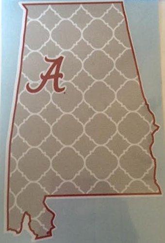 Alabama Script A Grey Tuscaloosa State-Shaped Car Decal - Alabama Crimson Tide Auto Window - Tuscaloosa Stores