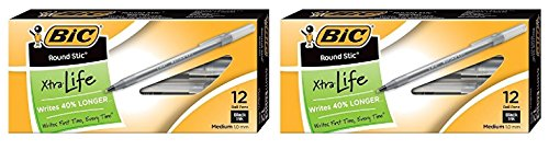 BIC Round Stic Classic Ballpoint Pen, Medium Point (1.0mm)-Black-24 ct
