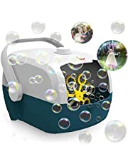 Bubble Machine, Automatic Bubble Blower Machine, Portable Bubble Maker for Outdoor and Indoor Use, Powered by Plug-in or Batteries with Two Speed Modes(Standing white)