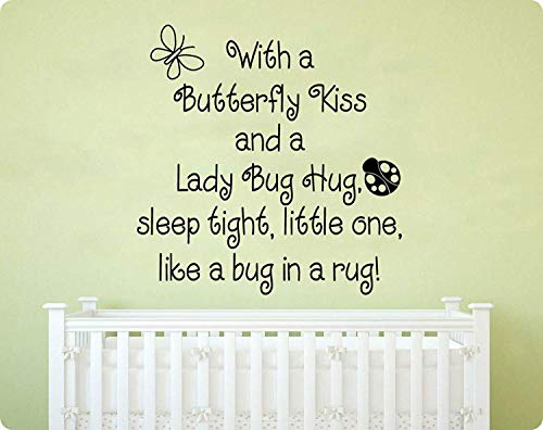Art with A Butterfly Kiss and Ladybug Hug Sleep Tight Little One Like A Bug in A Rug Nursery Rhyme Saying Baby Children Kids Home for Bedroom Living Room Wall - Ladybug Nursery Rhyme