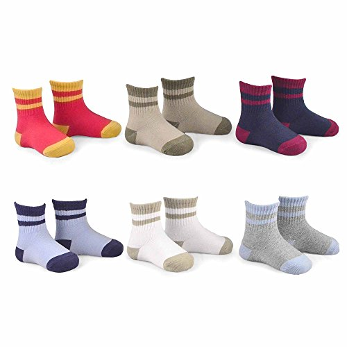 Naartjie Kids Boys Cotton Sports Crew Socks Stripes Tipped Rib 6 Pairs Pack, 3-5 Years