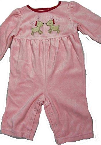 gymboree infant girl sleeper one piece pink reindeer bodysuit pajamas baby christmas theme 3 6 mos 23 25 12 17 lbs