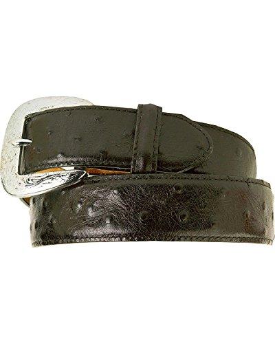 Tony Lama Men's Ostrich Print Leather Belt Reg And Big Black 36 - Exotic Belts