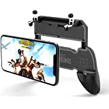 W10 Battlefield Wireless Gaming Joystick Controller Grip Case for PUBG, Compatible Holder Stand for 4.5-6.5 inch Android and iOS iPhone X/XS/R/XS Max (Black)