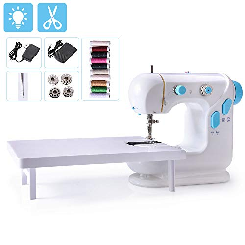 Beginner Sewing Machine, Mini Portable Electric Sewing Machine with Lamp and Thread Cutter, High & Low Speeds, Battery or Adapter Power Supplies (Blue)