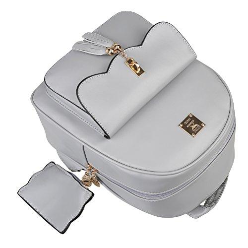 Faux Small Women Backpack Vintage Grey Handbags Girls Bag Rucksack School Travel for Daypack Tassel Leather Casual Teenage nfWfvrw