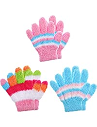 Boao 3 Pairs Kids Gloves Full Finger Mittens Winter Knitted Gloves for Little Boys and Girls Supplies (Color Set 11, 7-12 Years Size)