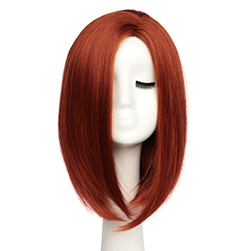 BESTUNG Short Bob Wigs Straight Hair Wigs for Women Shoulder Length Full Wig Natural Looking with Wig Cap(Wine Red)