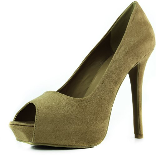 Femmes Liliana Cord-7 Peep Toes Pompes Chaussures De Mode Tan