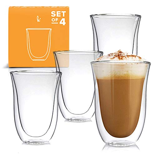 Walled Glass Mugs Double - Latte Cups Double Walled Coffee Glasses Set of 4 - Clear Glass Thermo Insulated Stackable Mugs, 7.5oz