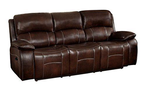 Match Leather Vinyl Brown (Homelegance Mahala Double Recliner Sofa Top Grain Leather Match Vinyl, Brown)