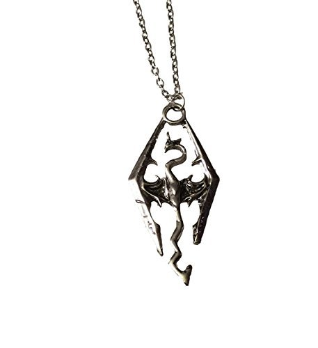 (Jewelry tycoon® Skyrim Elder Scrolls Dragon Symbol Silver Color Pendant Chain Necklace)