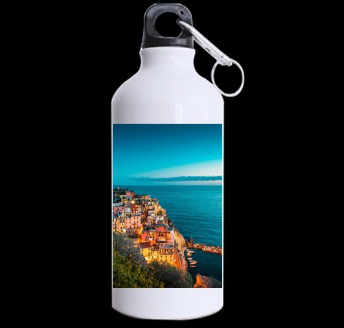 Flipped Summer Beautiful Manarola at Night, Cinque Terre, Italy Customized Sports Water Bottle Art Printing Travel Cup Twin Sides by Flipped Summer