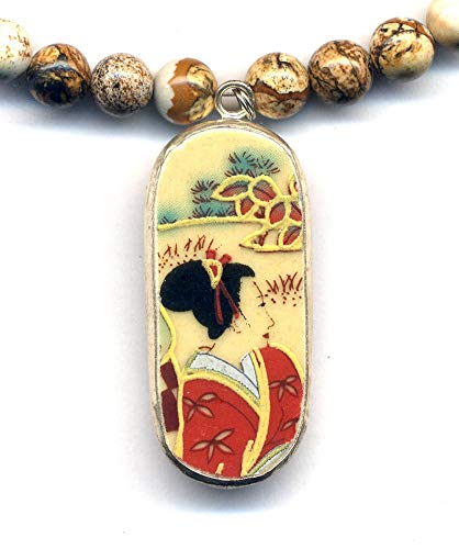 Jasper Geisha Necklace, Geisha Necklace, Ming Pottery Style Necklace, Jasper Necklace, Recycled Porcelain Jewelry by AnnaArt72 ()