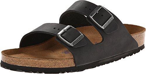 Birkenstock Unisex Arizona Black Oiled Leather Sandals - 9-9.5 2A(N) US Women/7-7.5 2A(N) US - Usa Black Leather