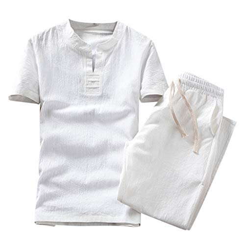 iHPH7 T-Shirt Short Sleeve Beefy T-Shirt Summer Fashion Casual Suit (L,2- White) -