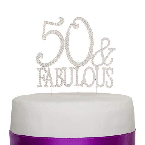 Ella Celebration 50 & Fabulous Cake Topper Silver for 50th Birthday Party Decoration Supplies (50 & Fabulous - Piece 50 Cake