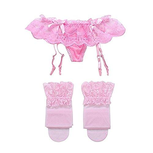 TAKIYA Womens Lace Garter Belt Panties & Sheer Stockings Lingerie Set (Pink) (A Pair Of Silk Stockings Full Text)