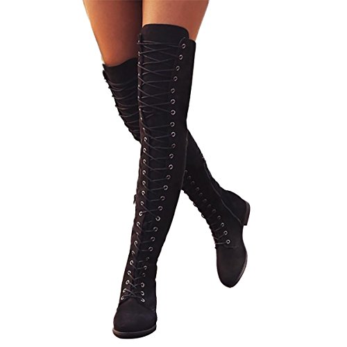 Boot High Stretch Knee (Inornever Women's Over The Knee Pull On Boots Thigh High Low Heel Faux Suede Lace up Wide Calf Boots Black 10 B (M) US)