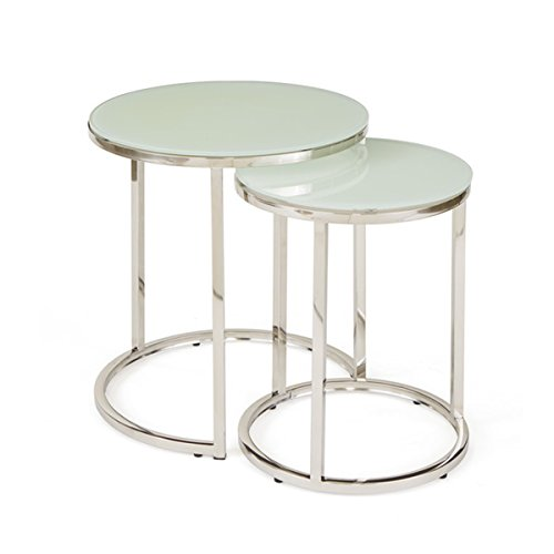 Hip Vintage Hopkins Glass-top Metal Nesting Tables (Set of 2)