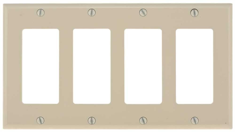 PREFERRED INDUSTRIES 602534 Deco 4 Gang Wall Plate, Ivory by Preferred Industries  B008LY8FHW