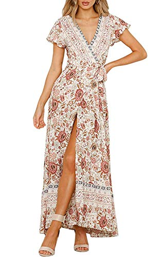 Womens Plus Size Boho Dresses Floral Maxi Wrap V Neck Split Casual Summer Beach Long Dress Pink