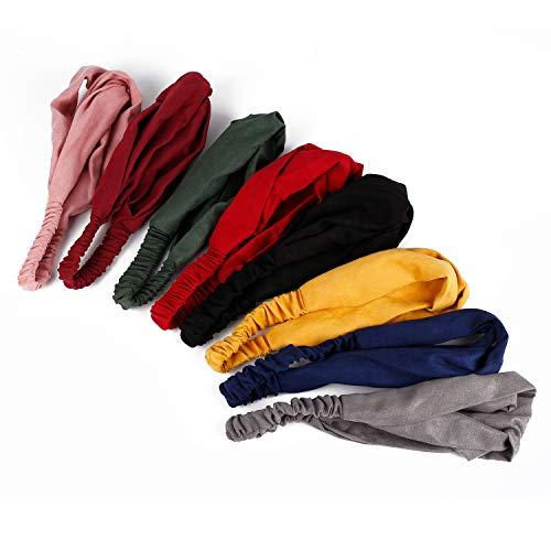 Tugaizi 8 Packs Boho Headbands for Women Vintage Cross Elastic Head Floal Style Wrap Twisted Turban Cute Hair Accessories Best Gift for Girls Women