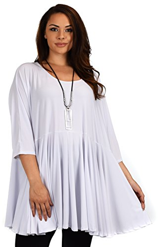 Jeans Full Circle (Dare2bStylish Women Oversize Plus Size Circle Bottom Flare Swing Tunic Dress Top, White)