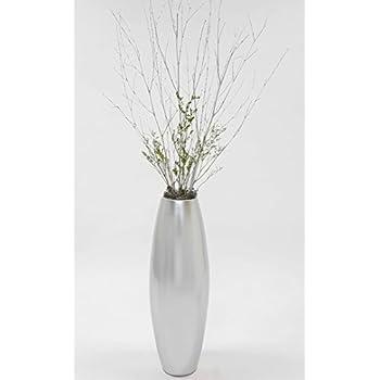 Amazoncom GreenFloralCrafts Silver Floor Vase Home Kitchen - Cylinder floor vase silver