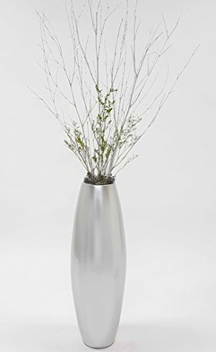 GreenFloralCrafts 36 in. Bamboo Cylinder Floor Vase & Branches - Lacquer (Silver Floor Vases)