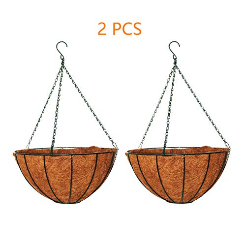 YOUKOOD 15 Inch Large Metal Hanging Planter Basket with Coco Coir Liner Artificial Hanging Flower Basket Round Wire Plant Holder with Chain Home Garden Decoration Indoor Outdoor (2 Pack)