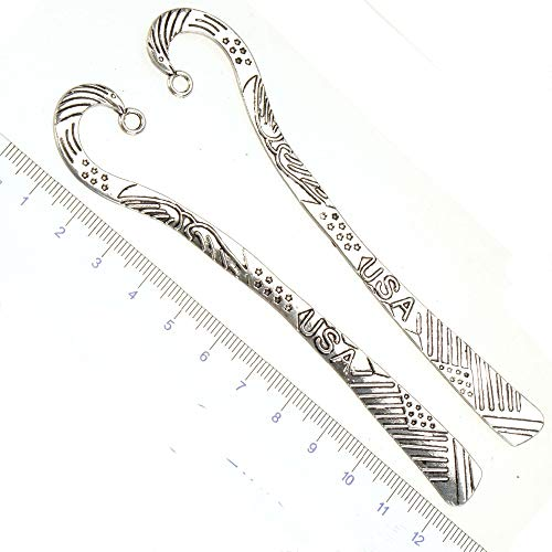 Laliva Bookmarks Stationery DIY USA Flag Bird Page Markers Antique Silver Metal Fashion Wedding Crafts Jewelry Components 123mm 5pcs