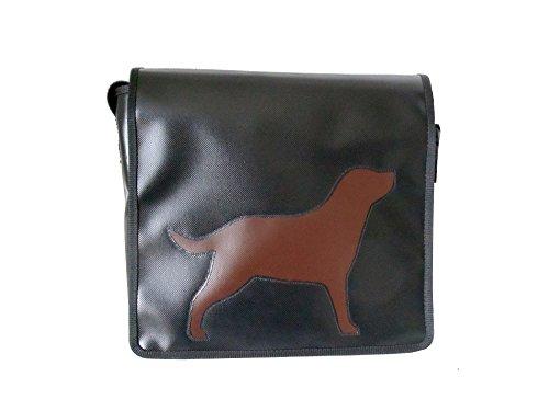 Schultertasche Hundemotiv Schwarz/Braun Labrador H 23, B 30, T 10
