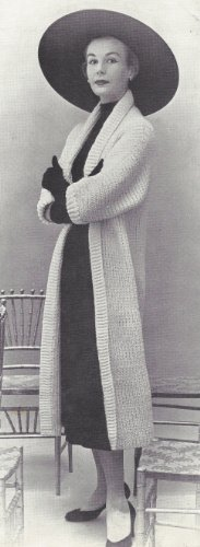 Vintage Knitting PATTERN to make - Knitted Coat Long Sweater Tube Jacket 1950s. NOT a finished item. This is a pattern and/or instructions to make the item only.