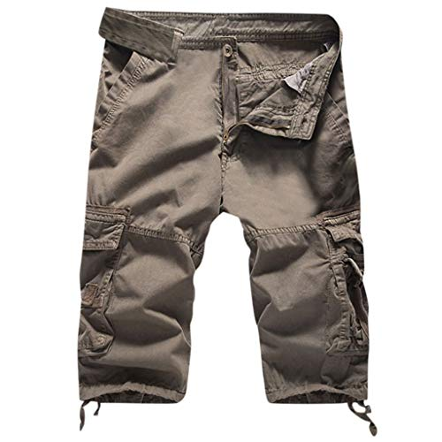 LUCAMORE Mens Solid Cargo Shorts Outdoor Twill Cotton Loose Fit Multi Pocket Pants Gray