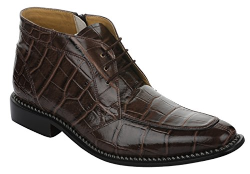 Liberty Men's Crocodile Print Ankle High Top PU Leather Lace up Dress Shoes ()
