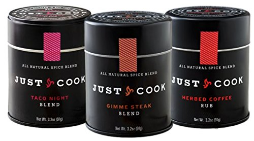 Meat Lover's Gourmet Spice Gift Set: Taco Night, Gimme Steak, Herbed Coffee - Ready Made Blends - Just Cook 3.2 oz. Tins - Non-Irradiated, All-Natural, Great for Grilling & Baking - SET OF 3