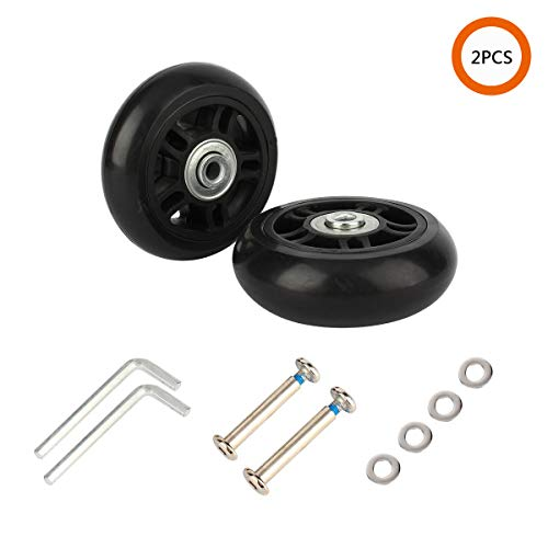 - YVO Luggage Suitcase Wheels Inline Spare Mute Castors Outdoor Skate Replacement Rubber Wheels with Repair Kit Bearings Axles for Trolley Case Travel Suitcase - Black Set of 2 (69×23×22 mm)