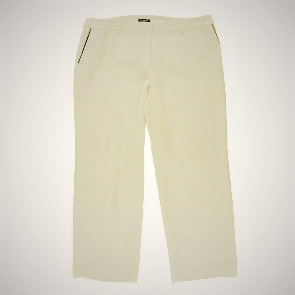 Jones New York Women's Winter White The Zoe Pant Relaxed Fit Flare-Leg Ponte Dress Pants Trousers SZ 24W New with Tags