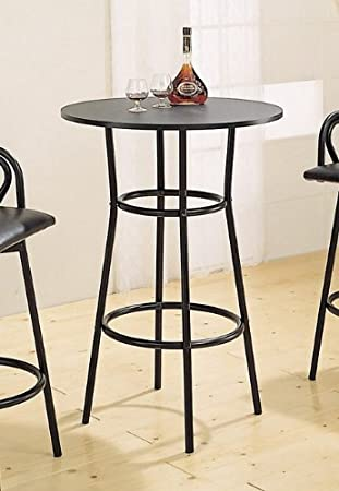 Retro Style Black Metal Finish Kitchen Bar Pub Table Furniture
