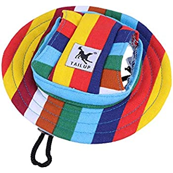 1982623261a37 WINOMO Round Brim Pet Cap Visor Hat Pet Dog Mesh Porous Sun Cap with Ear  Holes for Small Dogs - Size S (Colorful Stripe)