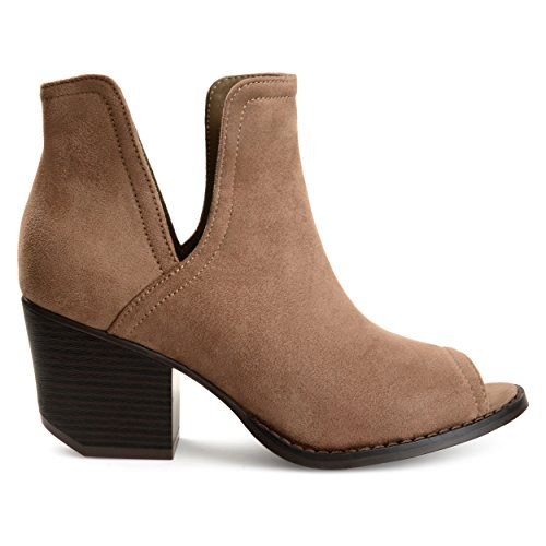 Brinley Co. Womens JENA Faux Suede Side-Slit Peep-Toe Ankle Booties Taupe, 8 Regular US ()