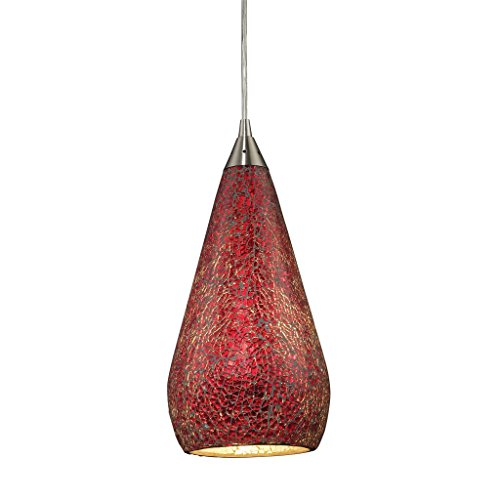 1 Light Pendant In Satin Nickel With Ruby Crackle Curvalo 1 Light Pendant