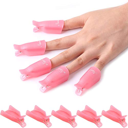 KINGMAS 10 Pieces Plastic Acrylic Nail Art Soak Off Cap Clip UV Gel Polish Remover Wrap Tool