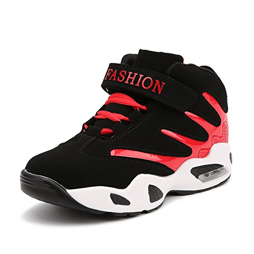 HYLM Hombres zapatos deportivos Zapatos ocasionales grueso inferior Corea Aumento Zapatillas de baloncesto zapatos negro rojo azul Red