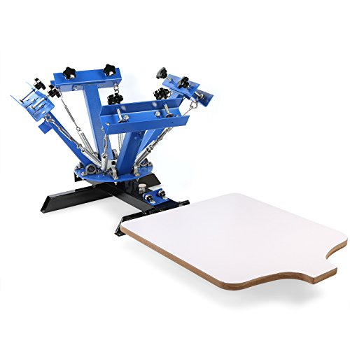 Happybuy Screen Printing Machine Press 4 Color 1 Station Silk Screen Printing Machine Adjustable Double Spring Devices