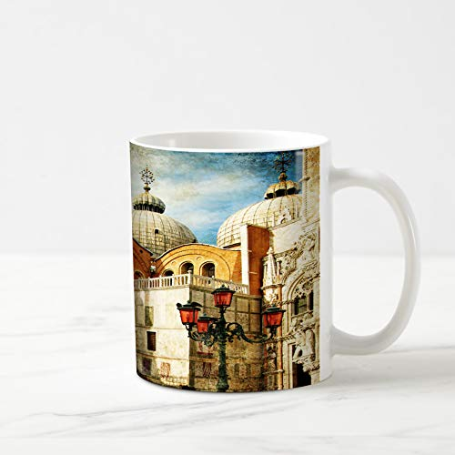 Ahawoso Coffee Tea Mug 11 Ounces Sky Watercolor Italy Amazing Venice Painting San History Paint Marco Basilica Famous Cathedral Palace 11Oz Ceramic Tea Cups Gift Great Boss Coworker Friend Present