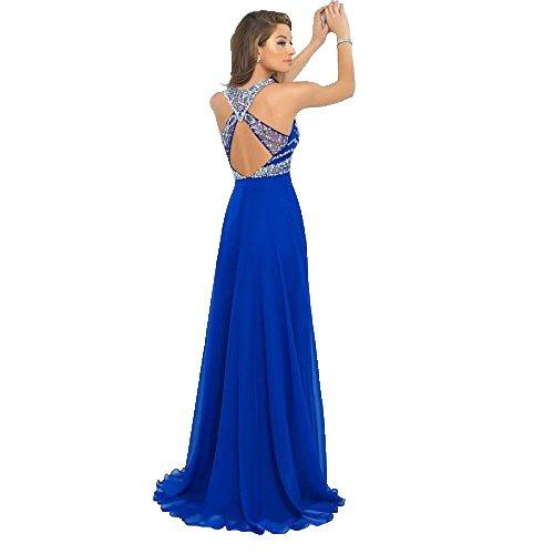 ALfany Elegant Royal Blue Chiffon A-Line Prom Dress Beading Long Evening Dresses US16