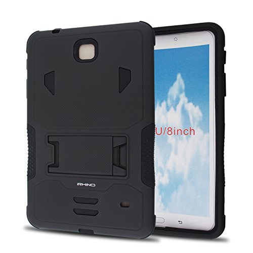 iRhino For Samsung Galaxy Tab 4 8.0 / 8-inch (SM-T330) Heavy Duty Armor Rugged Hybrid Kickstand Protective Cover Case (Black on Black)