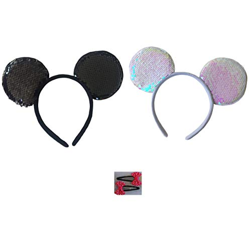 Mickey/Minnie Mouse Style Ears Boys, Girls, Children, Adults, Halloween (Sequin Bows [1 Black/Silver & 1 White/White Rose]) -